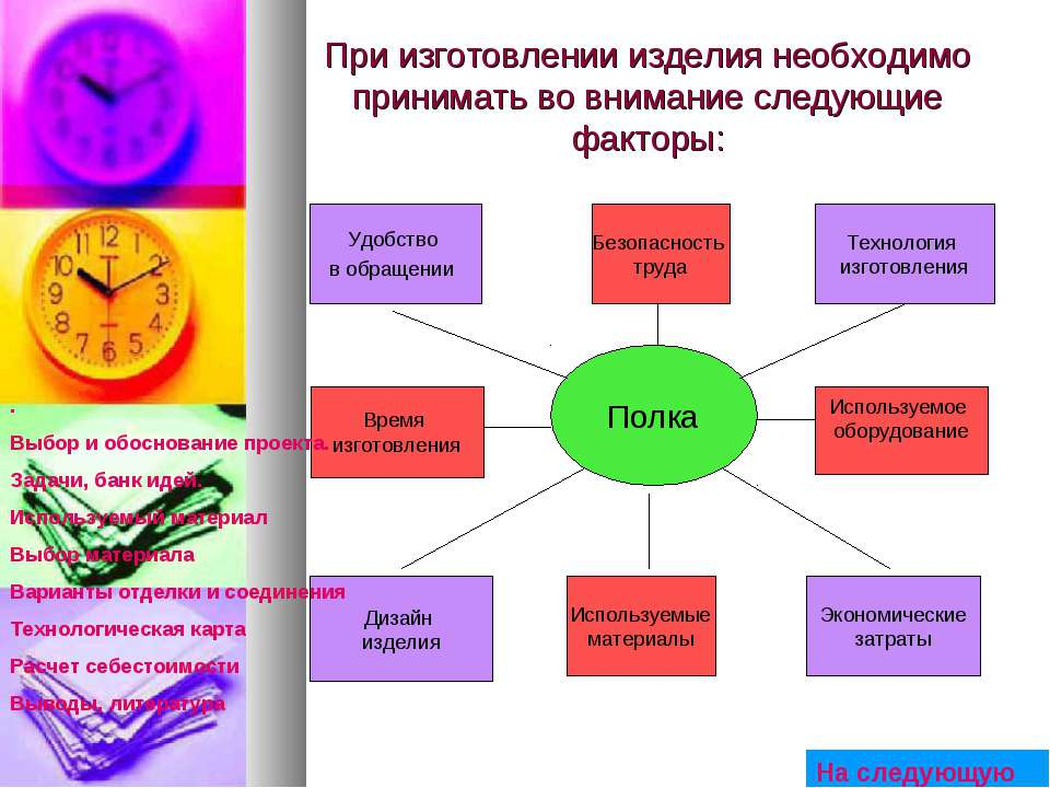 При изготовлении изделия необходимо принимать во внимание следующие факторы: ...