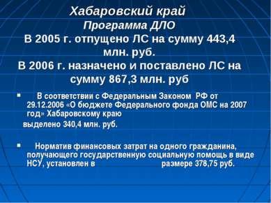 Хабаровский край Программа ДЛО В 2005 г. отпущено ЛС на сумму 443,4 млн. руб....