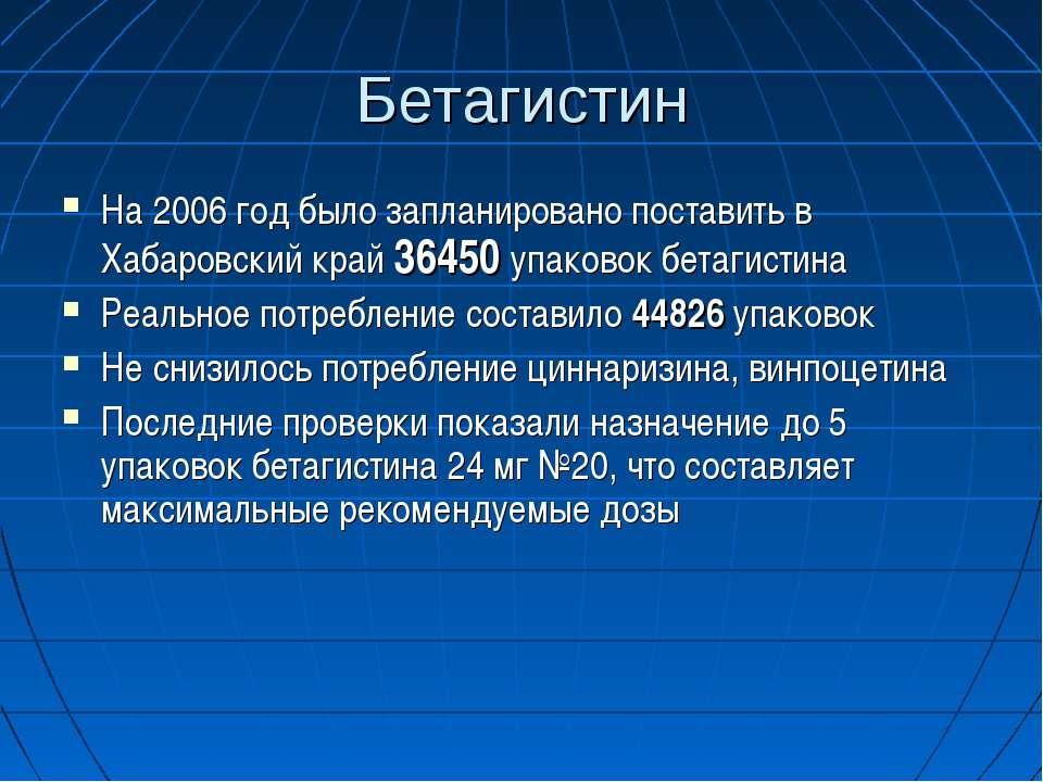 Бетагистин На 2006 год было запланировано поставить в Хабаровский край 36450 ...