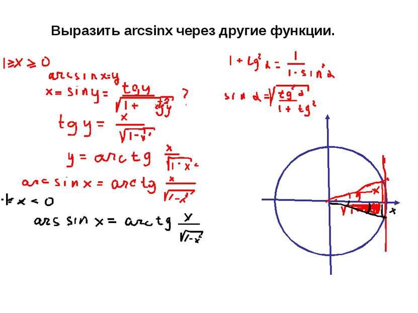 Выразить arcsinx через другие функции.
