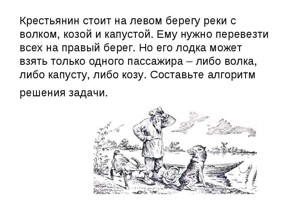 Крестьянин стоит на левом берегу реки с волком, козой и капустой. Ему нужно п...