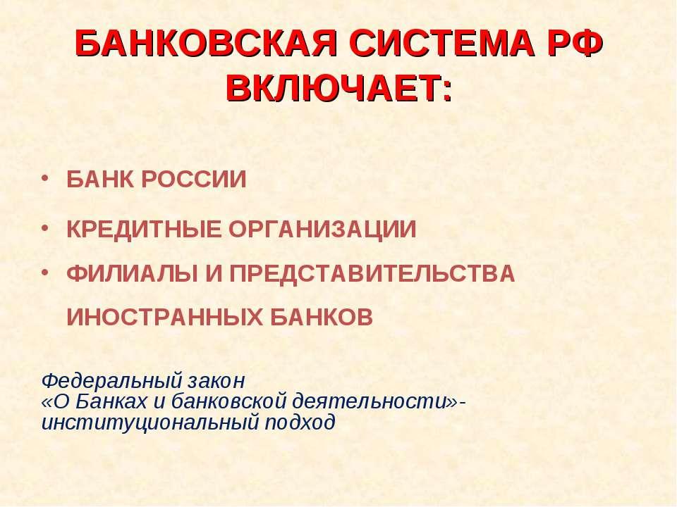 БАНКОВСКАЯ СИСТЕМА РФ ВКЛЮЧАЕТ: БАНК РОССИИ КРЕДИТНЫЕ ОРГАНИЗАЦИИ ФИЛИАЛЫ И П...