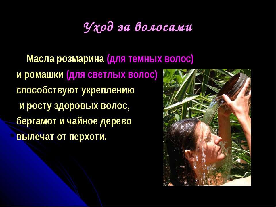 Уход за волосами Масла розмарина (для темных волос) и ромашки (для светлых во...