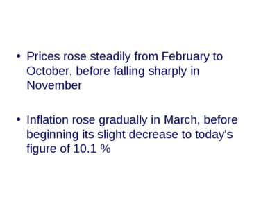 Prices rose steadily from February to October, before falling sharply in Nove...