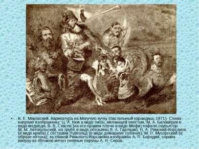 К. Е.Маковский. Карикатура на Могучую кучку (пастельный карандаш, 1871). Сле...