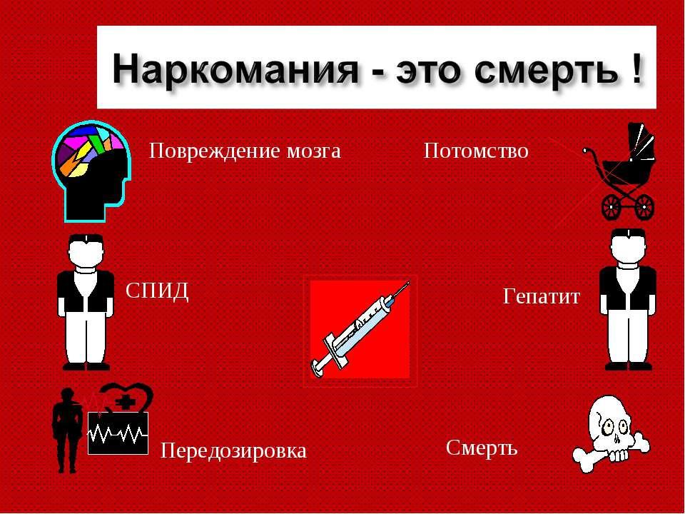 СПИД Гепатит Смерть Потомство Повреждение мозга Передозировка
