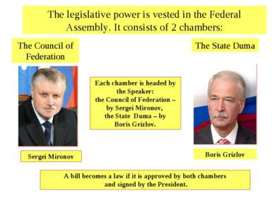 Each chamber is headed by the Speaker: the Council of Federation – by Sergei ...
