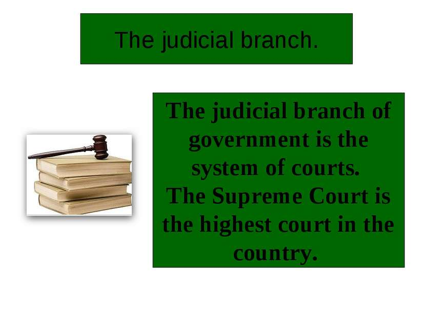 The judicial branch. The judicial branch of government is the system of court...