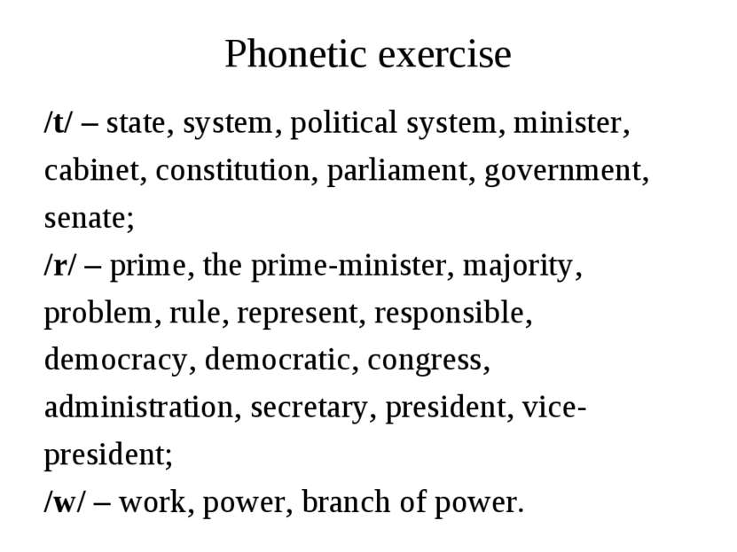 Phonetic exercise /t/ – state, system, political system, minister, cabinet, c...