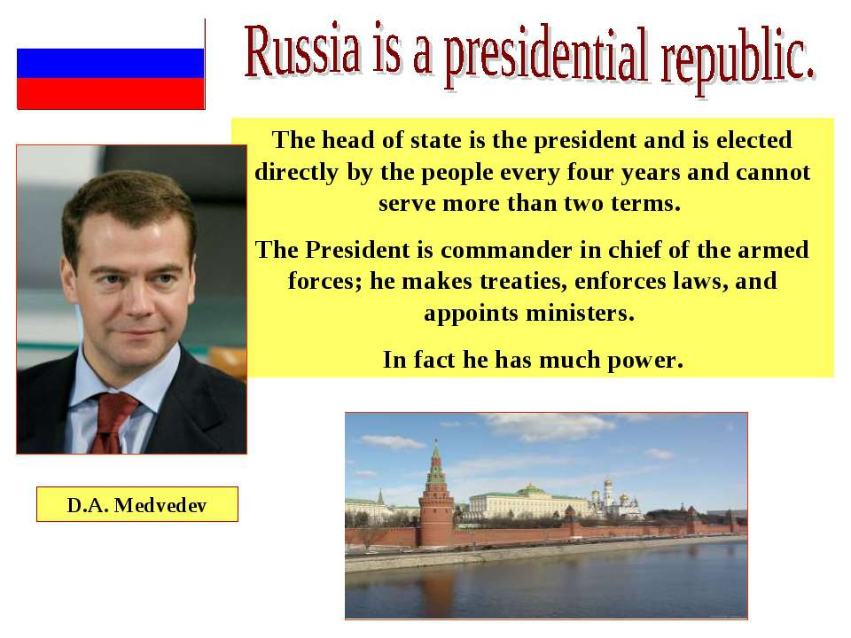 The head of state is the president and is elected directly by the people ever...