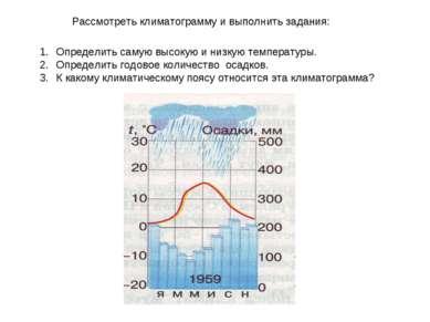 Рассмотреть климатограмму и выполнить задания: Определить самую высокую и низ...