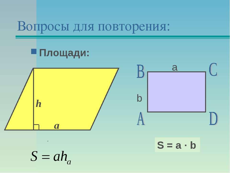 Вопросы для повторения: Площади: а b S = a · b h a