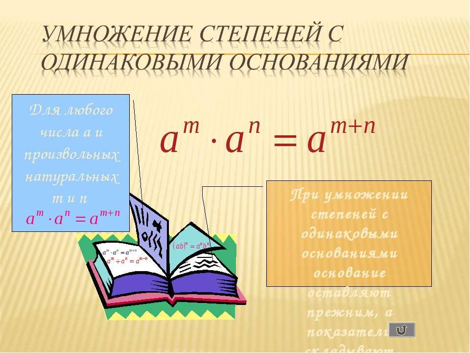 Для любого числа a и произвольных натуральных m и n При умножении степеней с ...