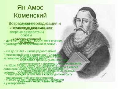 Ян Амос Коменский В работе «Великая дидактика» впервые разработаны основы кла...