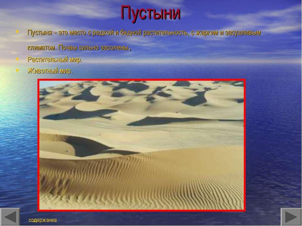 Пустыни Пустыня – это место с редкой и бедной растительность, с жарким и засу...