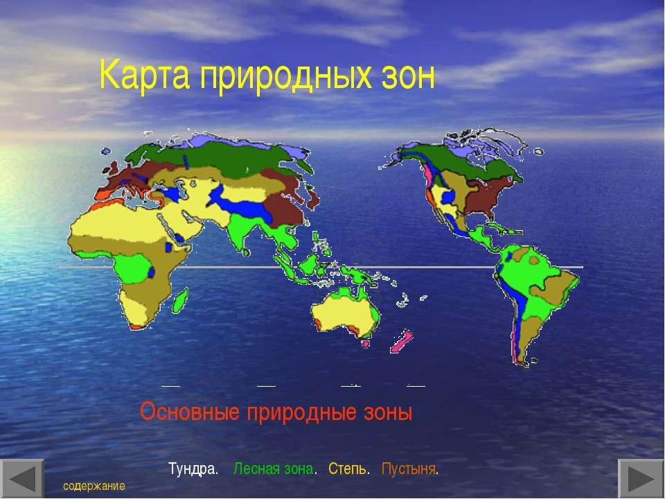 Карта природных зон Основные природные зоны Тундра. Лесная зона. Степь. Пусты...