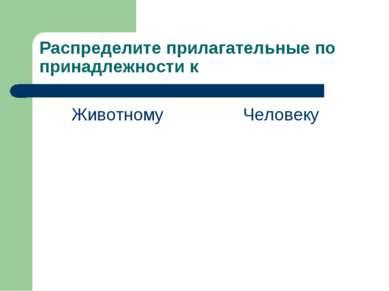 Распределите прилагательные по принадлежности к