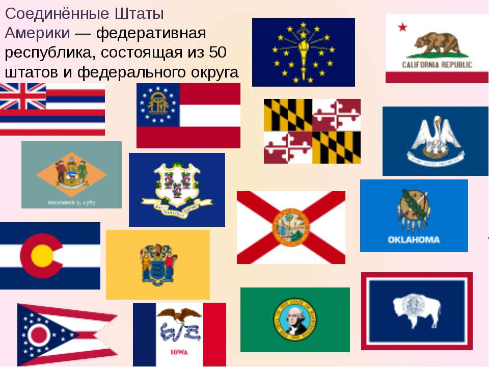 Соединённые Штаты Америки— федеративная республика, состоящая из 50 штатов и...