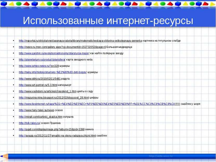 Использованные интернет-ресурсы http://nsportal.ru/shkola/vneklassnaya-rabota...