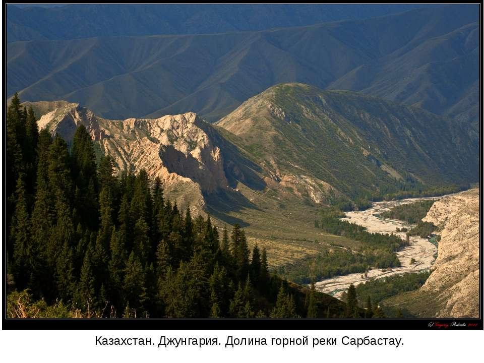 Казахстан. Джунгария. Долина горной реки Сарбастау.