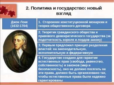 2. Политика и государство: новый взгляд Джон Локк (1632-1704) Сторонник конст...