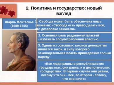 2. Политика и государство: новый взгляд Шарль Монтескье (1689-1755) Свобода м...