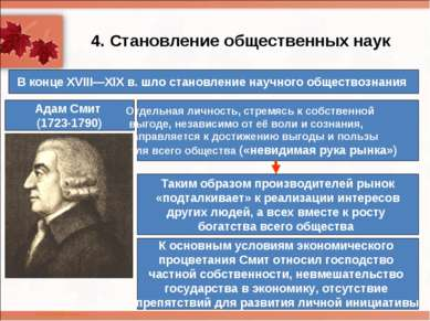4. Становление общественных наук Адам Смит (1723-1790) В конце XVIII—XIXв. ш...