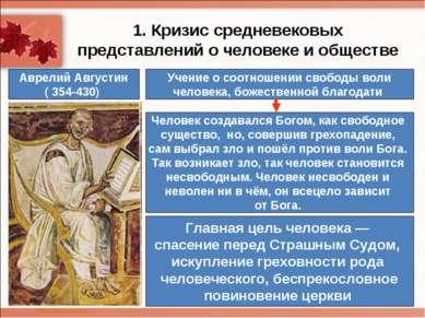 1. Кризис средневековых представлений о человеке и обществе Аврелий Августин ...