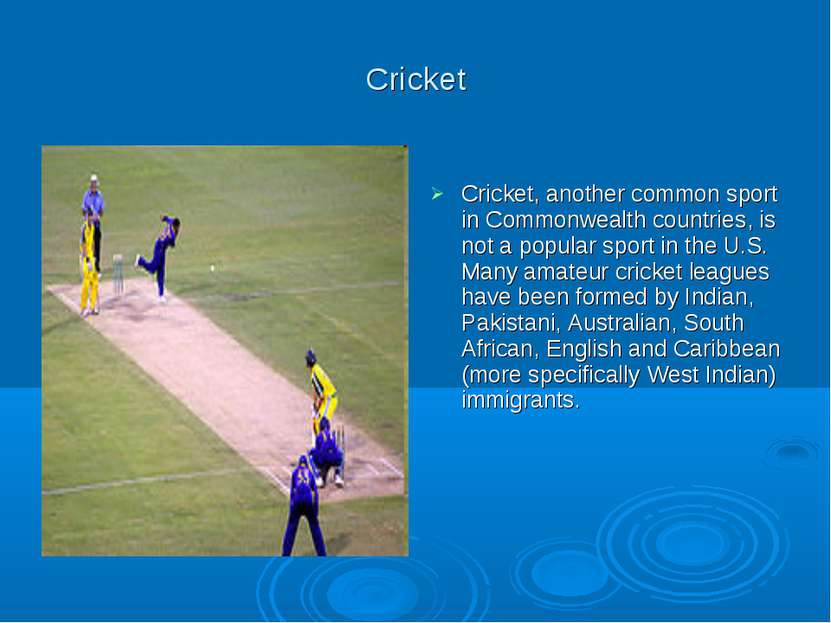 Cricket Cricket, another common sport in Commonwealth countries, is not a pop...