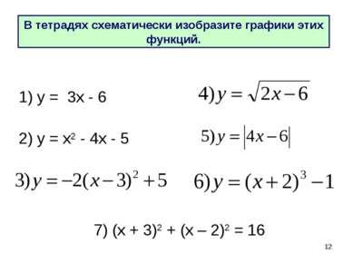 * 2) у = х2 - 4х - 5 1) у = 3х - 6 В тетрадях схематически изобразите графики...