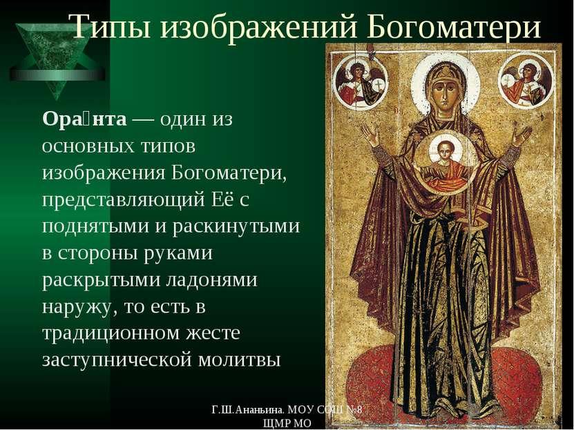 Типы изображений Богоматери Ора нта — один из основных типов изображения Бого...