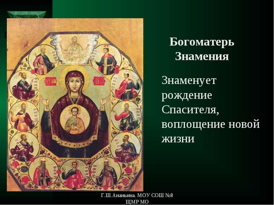 Знаменует рождение Спасителя, воплощение новой жизни Богоматерь Знамения Г.Ш....