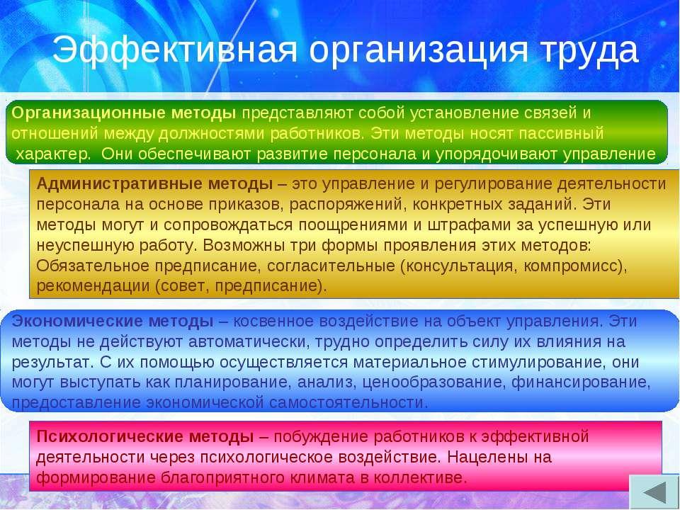 Эффективная организация труда Организационные методы представляют собой устан...