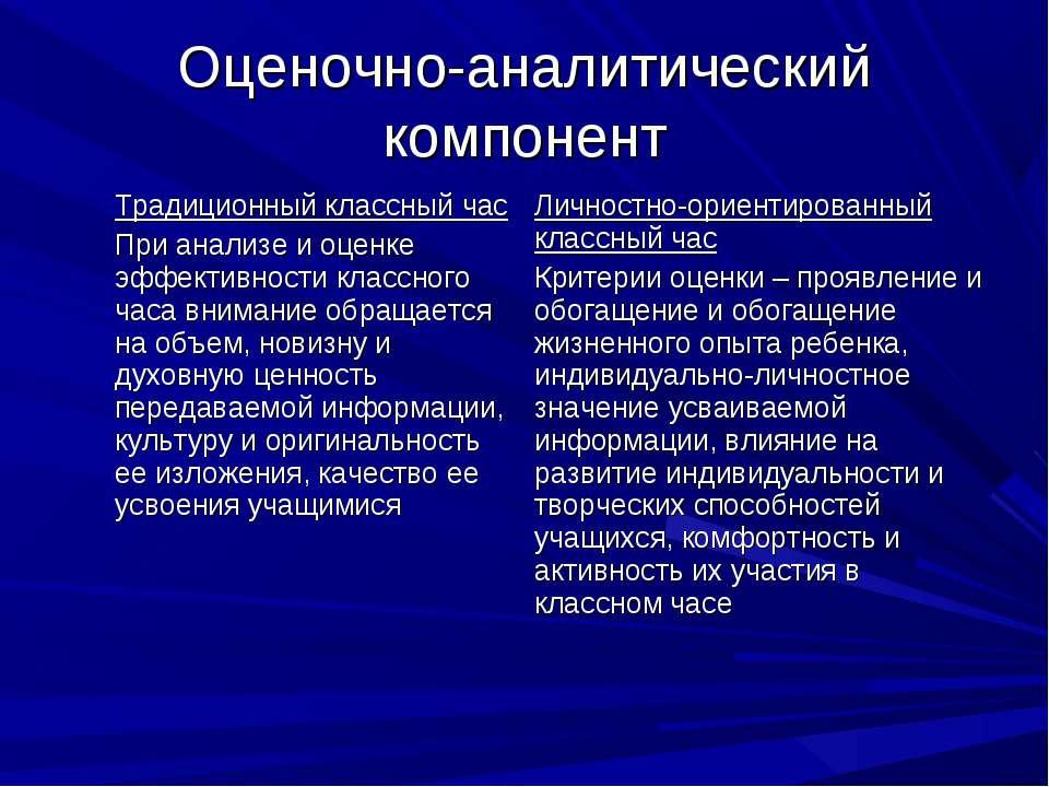 Оценочно-аналитический компонент Традиционный классный час При анализе и оцен...