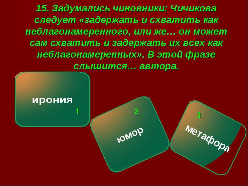 15. Задумались чиновники: Чичикова следует «задержать и схватить как неблагон...