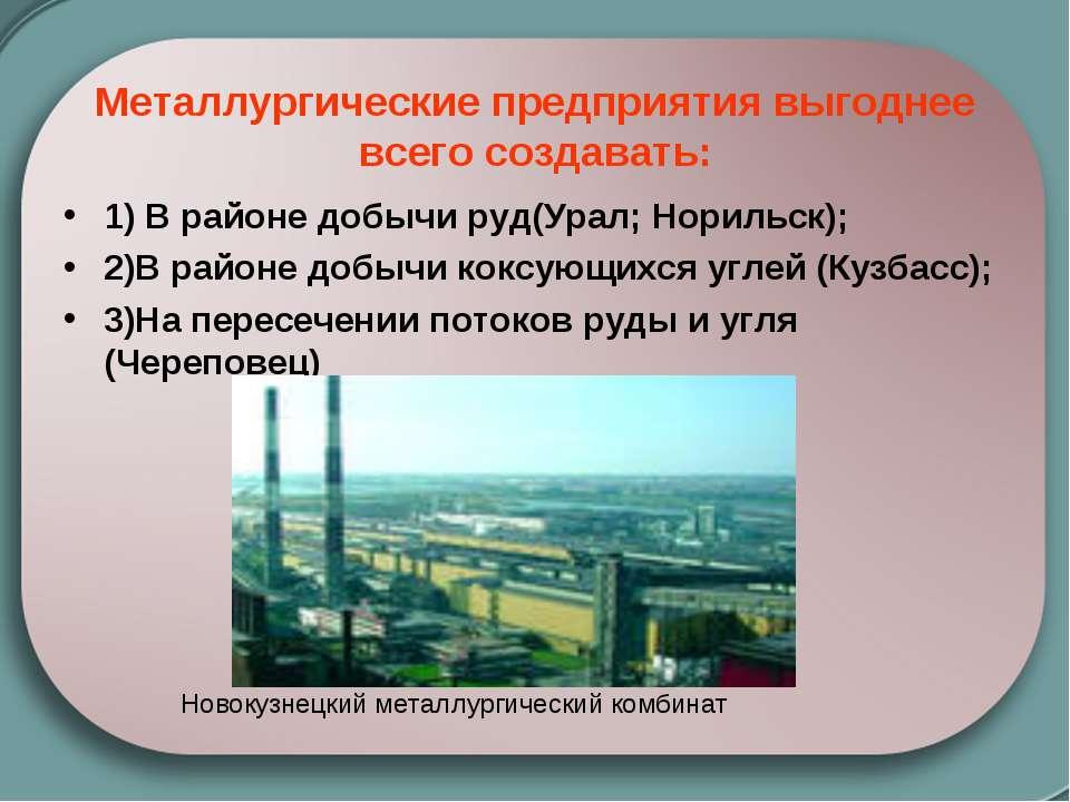 Металлургические предприятия выгоднее всего создавать: 1) В районе добычи руд...
