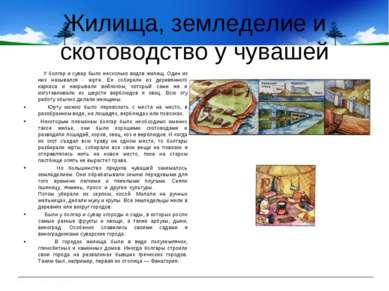 Жилища, земледелие и скотоводство у чувашей У болгар и сувар было несколько в...