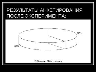 РЕЗУЛЬТАТЫ АНКЕТИРОВАНИЯ ПОСЛЕ ЭКСПЕРИМЕНТА: