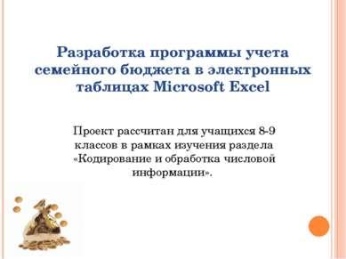 Разработка программы учета семейного бюджета в электронных таблицах Microsoft...