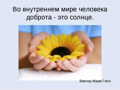 Во внутреннем мире человека доброта - это солнце. Виктор Мари Гюго