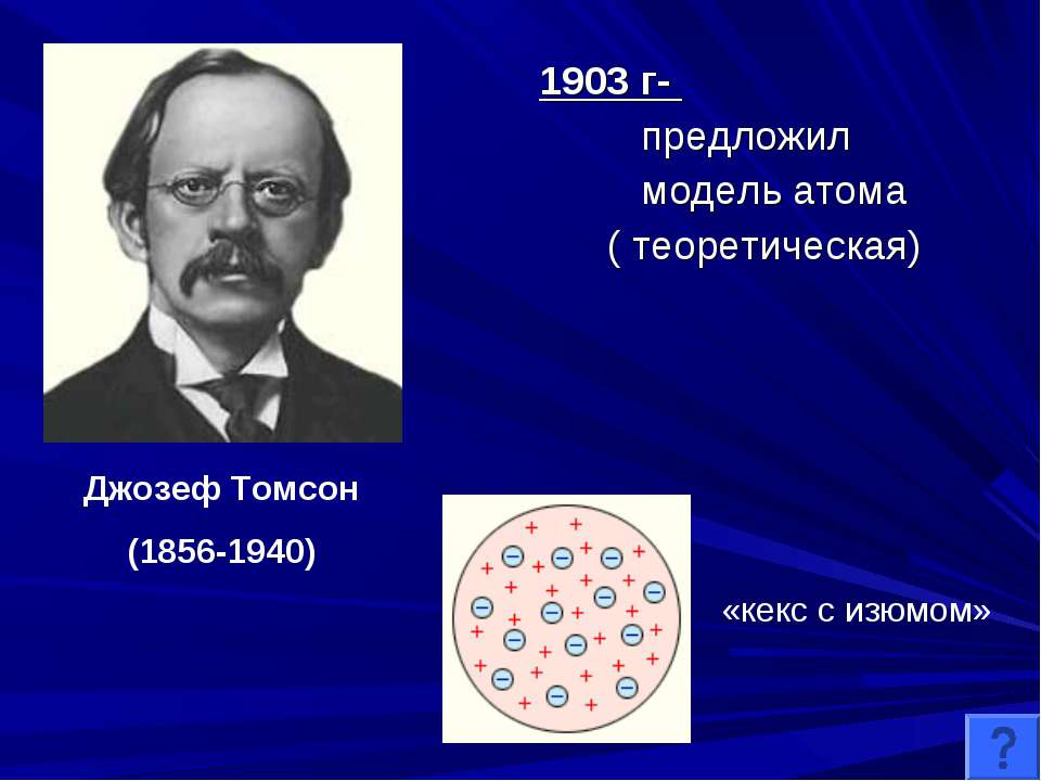 1903 г- предложил модель атома ( теоретическая) Джозеф Томсон (1856-1940) «ке...