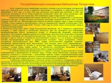 Была создана как центр информации, духовного общения и досуга молодежи, метод...