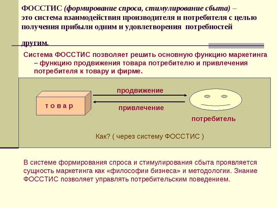 ФОССТИС (формирование спроса, стимулирование сбыта) – это система взаимодейст...