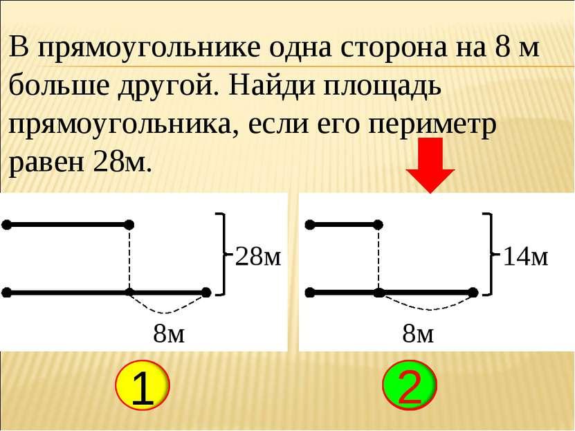В прямоугольнике одна сторона на 8 м больше другой. Найди площадь прямоугольн...