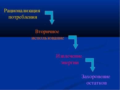 Рационализация потребления Вторичное использование Извлечение энергии Захорон...