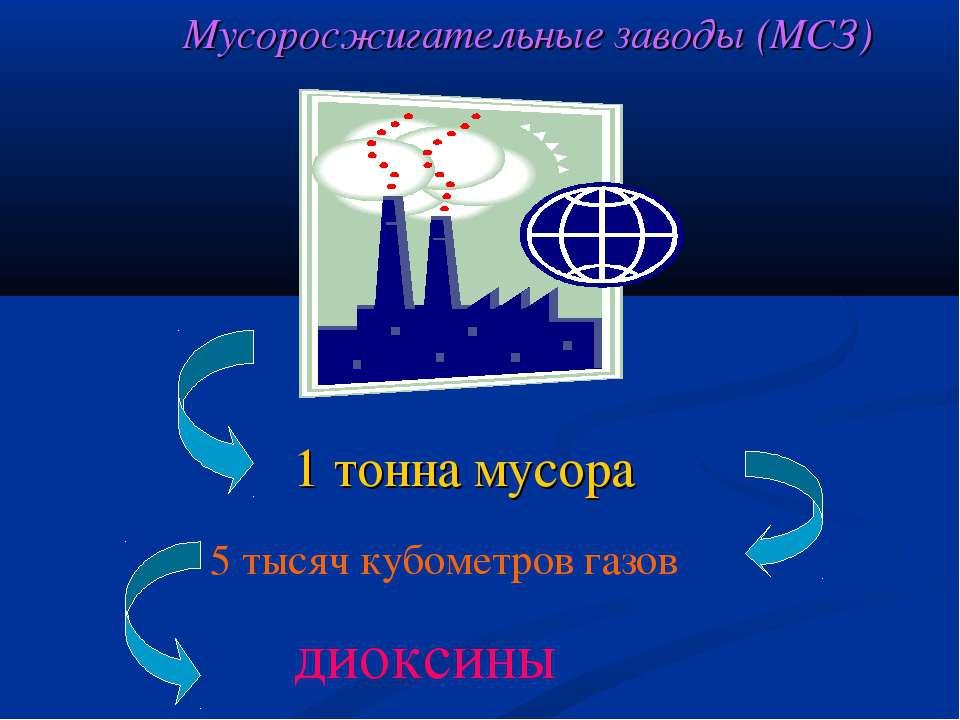 1 тонна мусора 5 тысяч кубометров газов диоксины Мусоросжигательные заводы (МСЗ)