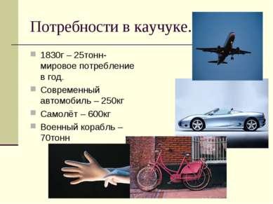 Потребности в каучуке. 1830г – 25тонн- мировое потребление в год. Современный...