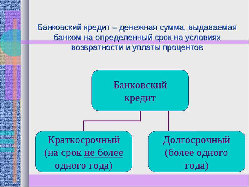 Банковский кредит – денежная сумма, выдаваемая банком на определенный срок на...