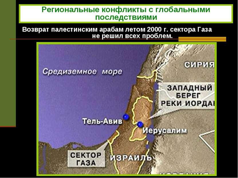 Возврат палестинским арабам летом 2000 г. сектора Газа не решил всех проблем....