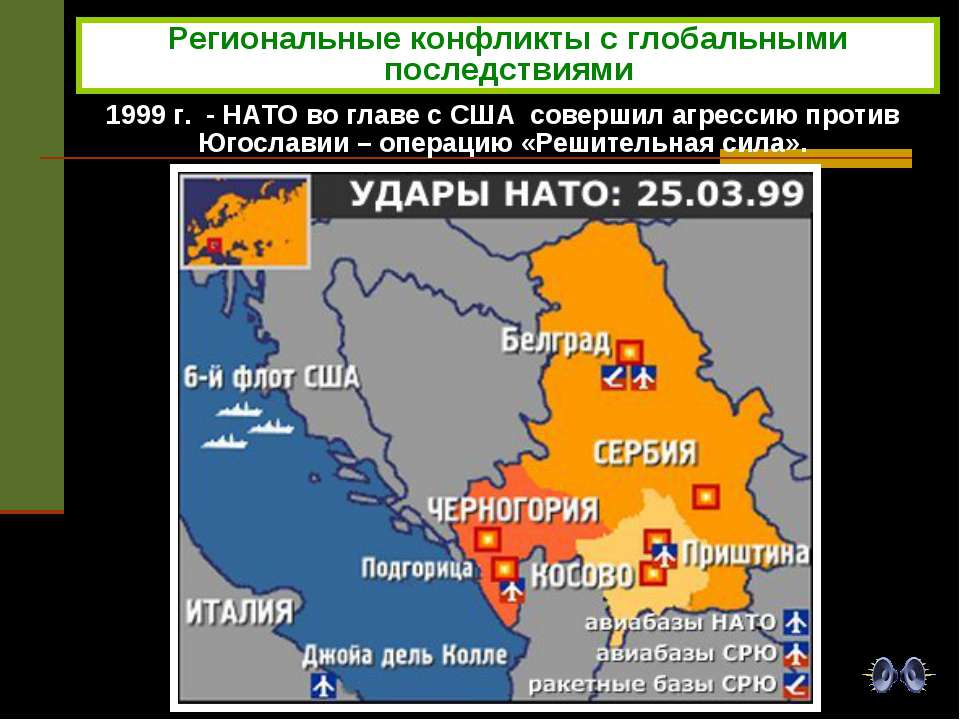 Региональные конфликты с глобальными последствиями 1999 г. - НАТО во главе с ...